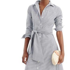 J. Crew Tie-Waist Midi Shirt Dress Navy Stripe 12